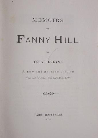 CLELAND, JOHN. 1709-1789. Memoirs of Fanny Hill. Paris and Rotterdam: [no publisher, 1890s].