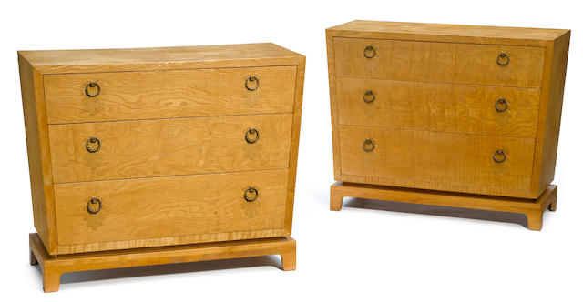 A pair of Johan Tapp burled maple chests of drawers 1940s