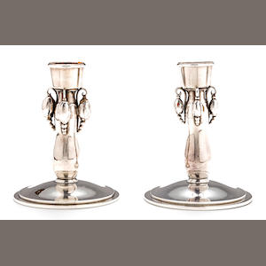 A pair of Danish silver candlesticks, Georg Jensen, 20th century