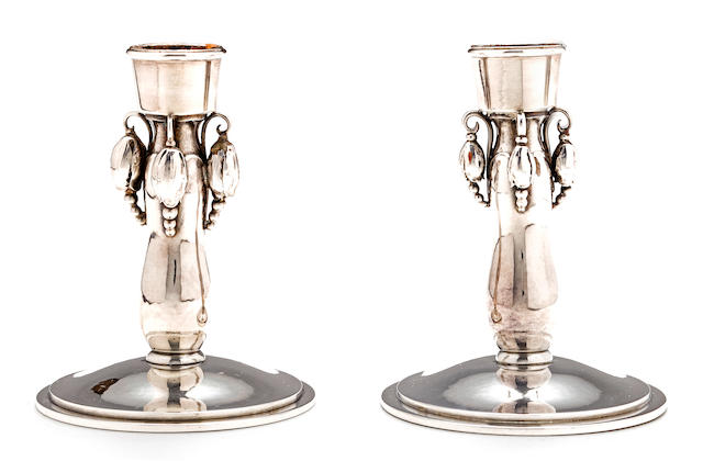A pair of Danish silver candlesticks, Georg Jensen, 20th century