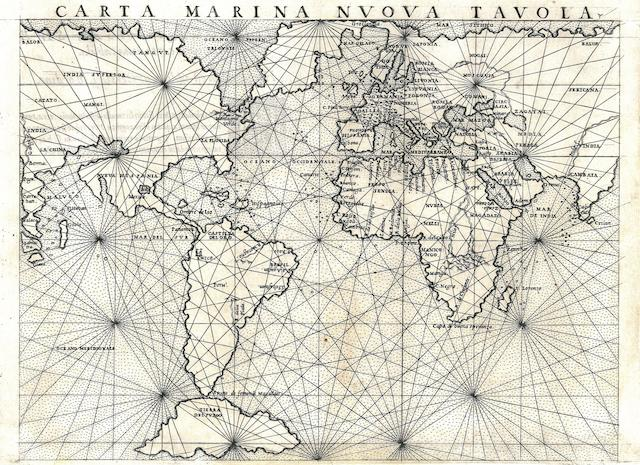 RUSCELLI, GIROLAMO. d. 1566. Carta Marina Nuova Tavola. [Venice, 1561.]