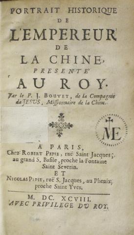 BOUVET, JOACHIM. 1656-1730. Portrait Historique de l'Empereur de la Chine. Paris: Robert & Nicolas Pepie, 1698.<BR />