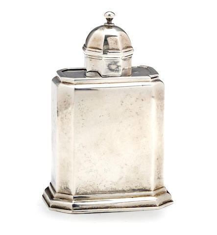 George I Britannia standard silver tea caddy from a Distinguished old Rhode Island Family