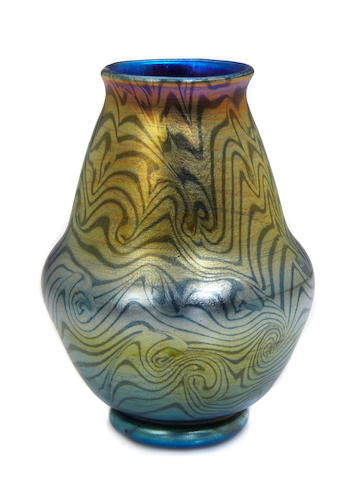 A Tiffany Studios decorated Favrile glass King Tut vase circa 1907