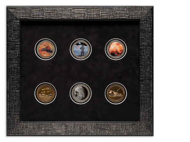 Framed Set of Six Meteorite Medallions