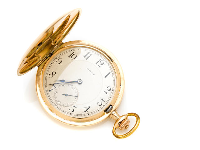 A 14k gold hunter cased pocket watch, Seeland Watch Co.