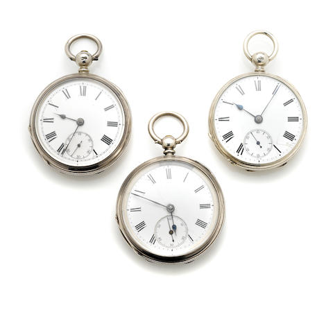 A collection of three silver open face pocket watches, International Watch Co.