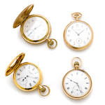 A collection of four gold filled and metal pocket watches, including International Watch Co.