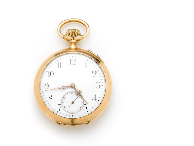A 14k gold open face pocket watch, International Watch Co.