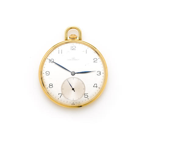 An 18k gold open face pocket watch, International Watch Co., retailed by Favre-Leuba & Co.