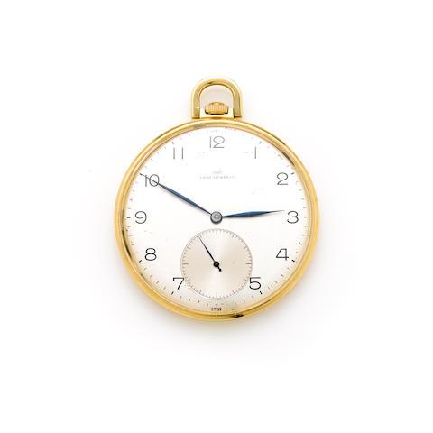 An 18k gold open face pocket watch, International Watch Co., retailed by Favre-Leuba & Co.