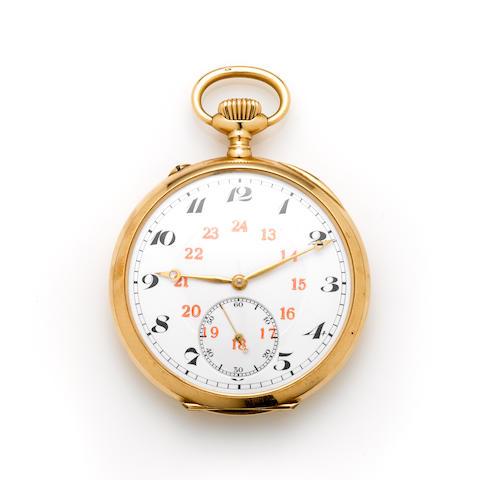 A 14k gold open face pocket watch, International Watch Co.