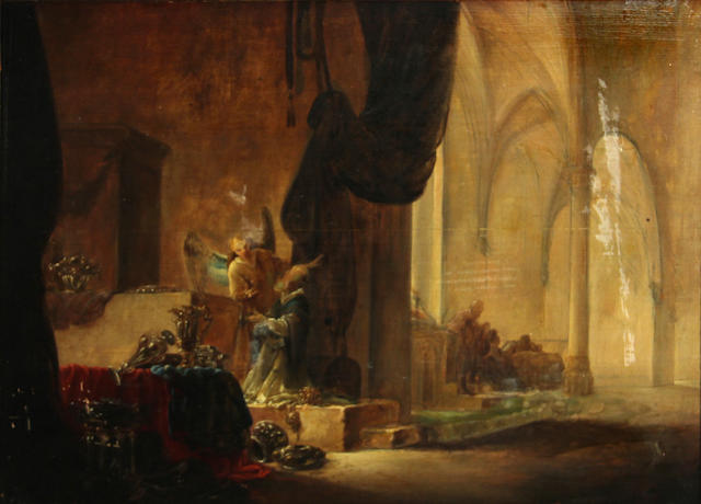 Attributed to Adriaen Verdoel (Dutch, circa 1620-1695) A church interior with an angel and a priest 18 1/2 x 25in