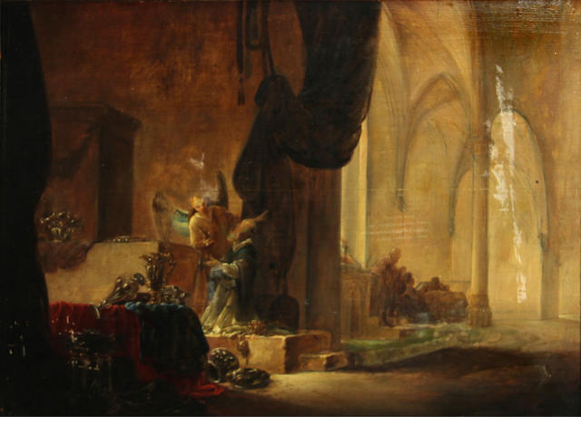 Follower of Rembrandt, Angel and priest in church, o/c