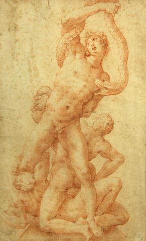 Italian School, 17th/18th Century Figures wrestling a serpent 13 5/8 x 8 3/4in