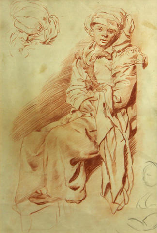 French School, Study of a seated figure, red chalk(?)