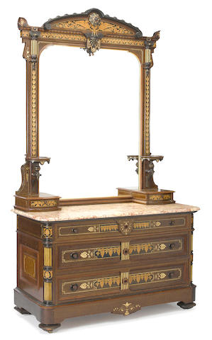An American Aesthetic ebonized, parcel gilt, maple and burl inlaid dresser<BR />Herter Brothers, New York<BR />circa 1872