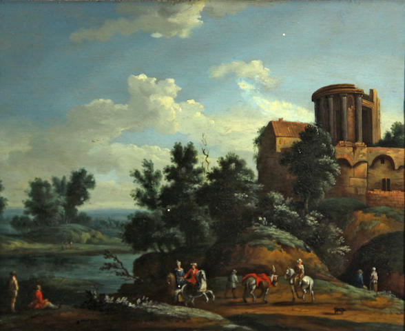 Flemish School, circa 1750 A landscape with classical ruins and figures in the foreground 9 3/4 x 12in