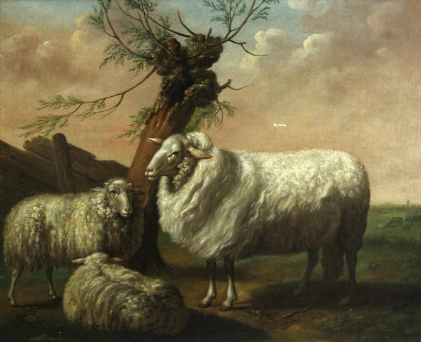 English School, 19th Century Sheep in a landscape 19 1/2 x 23in