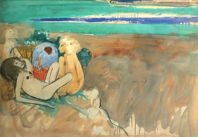 Robert Beauchamp, Figures with baboon on beach