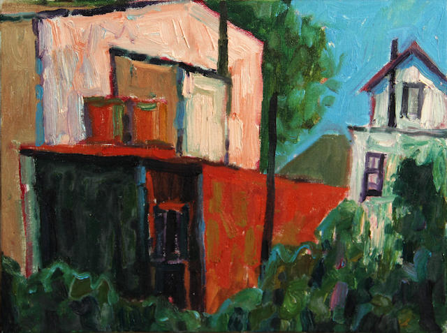 Lundy Siegriest (American, 1925-1985) Back of Houses, Crockett 12 x 16in