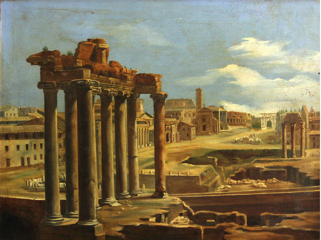 Italian School, The forum, Rome, o/c
