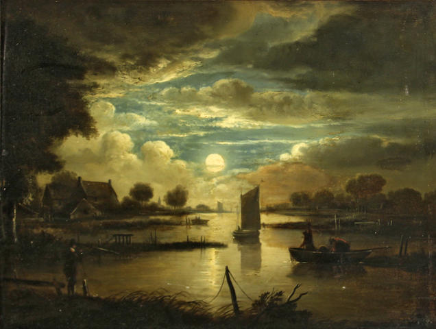 Follower of Aert Van der Neer, * BK * Moonlit landscape and figures, o/pnl