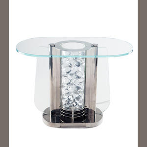 An American Art Deco illuminated chromed-metal and glass side table circa 1930