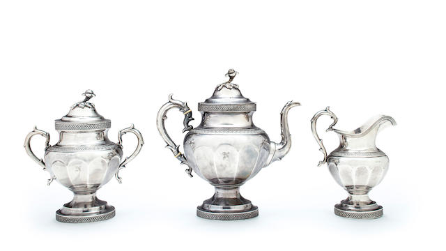 An American coin silver three piece tea service, Ball, Tompkins & Black