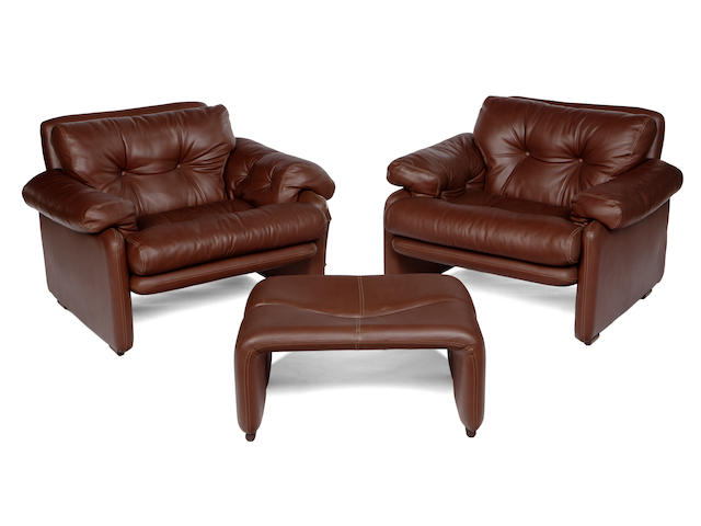 "A pair of  Afra and Tobia Scarpa ""Coronado"" leather armchairs and single ottoman designed 1966, produced by C & B Italia, for Atelia International"