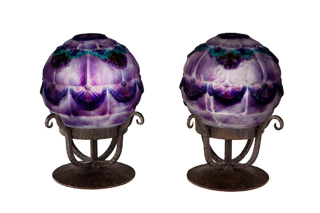 A pair of Gabriel Argy-Rousseau pate-de-verre and wrought-iron boudoir lamps: Dune Flowers (Bloch-Dermant 25-26 ), model introduced 1925