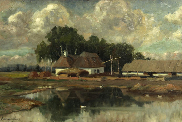 Hungarian School Farm buildings by a pond 10 1/2 x 16 1/2in