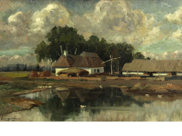 Hungarian School, Farm buildings by the water, signed indistinctly l/l: Laszgarner(?), o/pnl, 10 1/2 x 16in