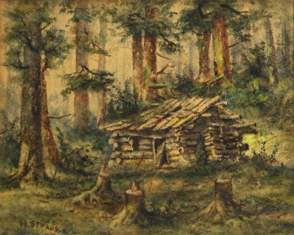 Meyer Straus (American, 1831-1905) Log cabin in the forest sight: 7 1/2 x 9 3/4in