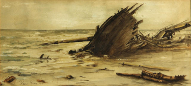 Percy Gray (1869-1952) Shipwreck, 1919 sight: 5 x 11 1/4in