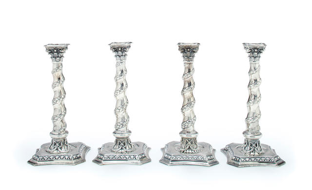 A set of four Victorian sterling silver columnar candlesticks<BR />by George Lambert, London, 1876