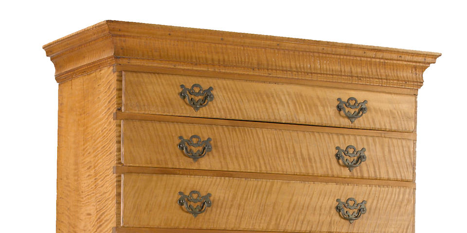 A Queen Anne tiger maple flat-top chest-on-chest<BR />New Hampshire, mid-18th century