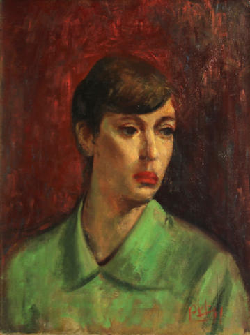 Robert Philipp (American, 1895-1981) Portrait of a young woman in green 20 x 16in