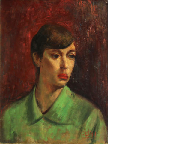 Robert Philipp (American, 1895-1981) Portrait of a young woman in a green shirt 20 x 16in