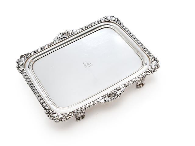 Regency silver rectangular salver