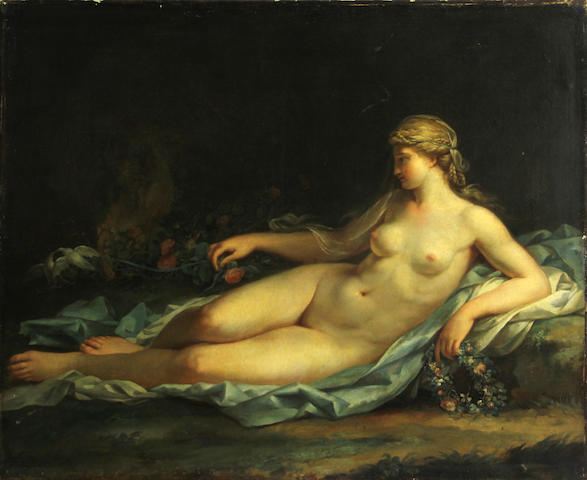 French School 19th C., Reclining nude in a wooded landscape, o/c