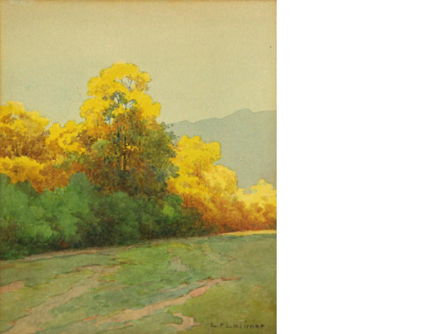 Lorenzo P. Latimer (American, 1857-1941) A bit of Autumn, Reno, Nevada 7 x 6in