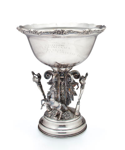 An impressive Peruvian sterling silver equestrian figural trophy cup<BR />by Camuso, Lima, circa 1960