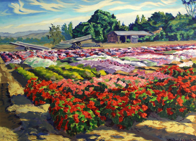 Michael Joseph (American, born 1945) Flower farm, 2002 sight: 22 1/4 x 30 1/4in