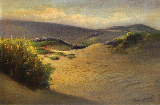 Willard E. Worden (American, 1868-1946) Sand dunes and wildflowers 7 x 10in