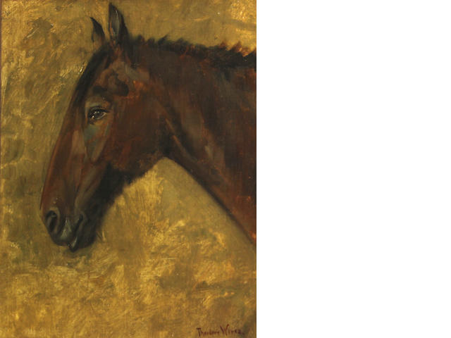 Theodore Wores (American, 1860-1939) Indian horse head 14 x 11in