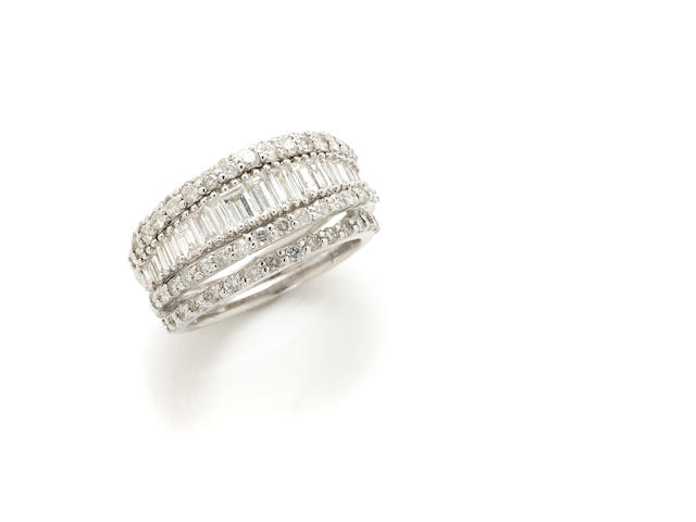 A baguette and round brilliant-cut diamond ring