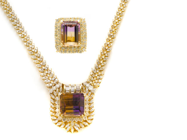 An ametrine, diamond and gold necklace and ring