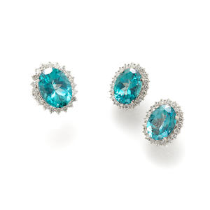 A collection of blue stone, diamond and 14k white gold pair of earrings and a ring **needs to be changed to 1200-1800 with a 1000 reserve**
