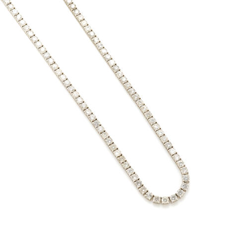 A diamond and 18k white gold riviere necklace